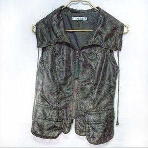 Miilla Dark Grey Moto Faux Leather Vest Small